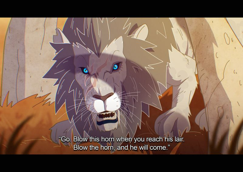 """World of Warcraft Classic - a point of view shot of a giant white lion. The text reads """"Go. Blow this horn when you reach his lair. Blow the horn, and he will come."""""""