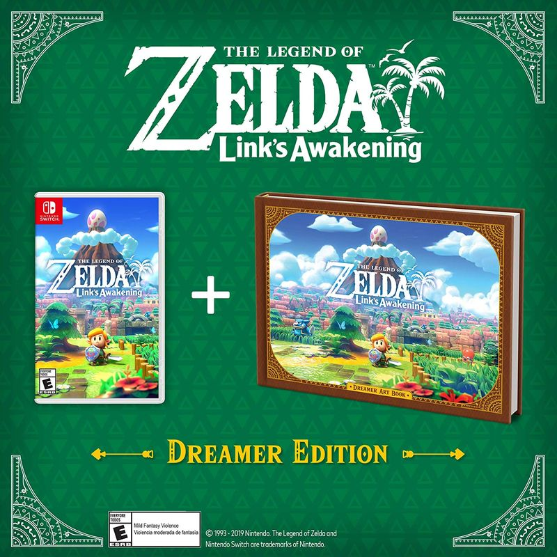 The Legend of Zelda: Links Awakening game box and art book on a green background