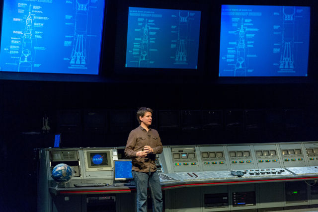 Talking about Saturn Vs at on stage at a NASA facility is always appropriate—here's XKCD creator Randall Munroe doing just that in 2015.