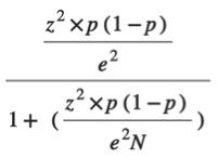 Survey-size formula.