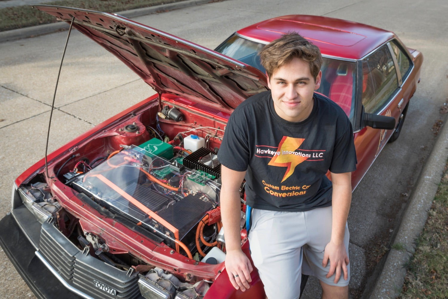 Adam Lansing and his electric 1980 Toyota Celica