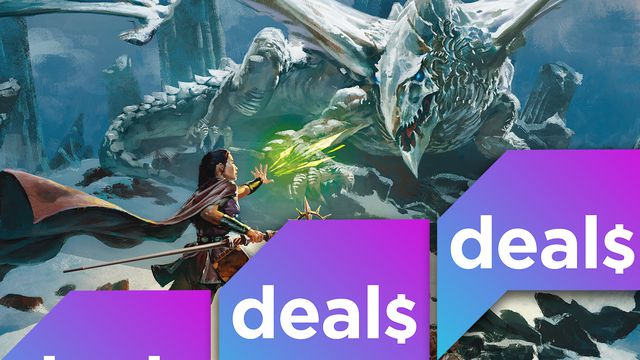 Cover art for Dragon of Icespire Peak overlaid with the Polygon Deals logo