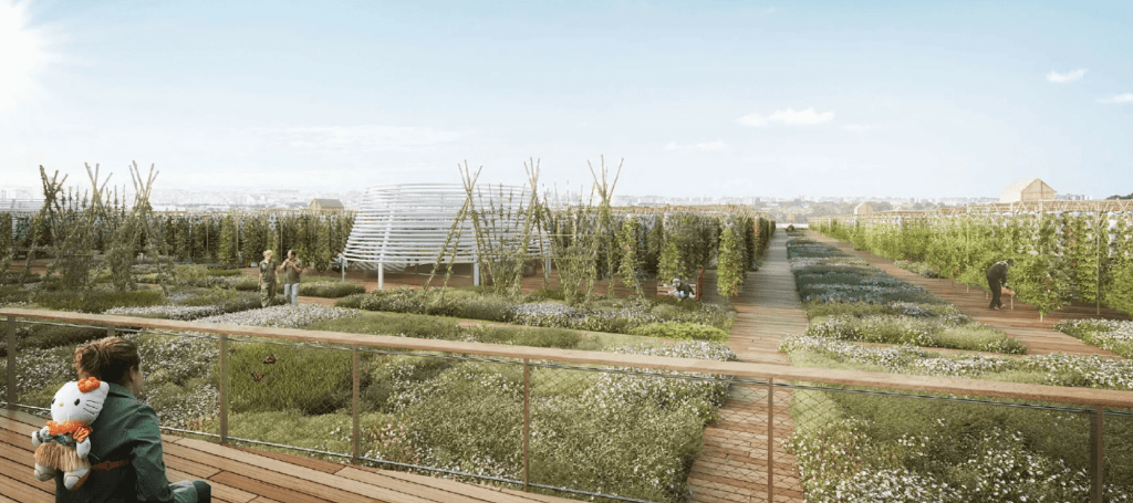 Design of the world's largest rooftop farm in Paris