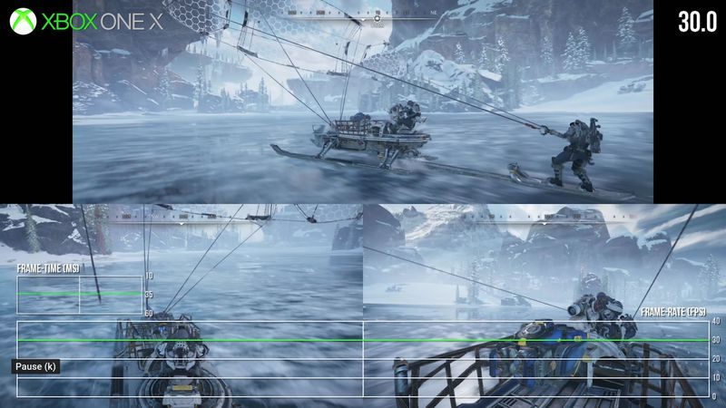 A screen from Digital Foundry's in-depth analysis of Gears 5 split-screen co-op showing Gears characters sailing over a frozen lake in three-player split-screen co-op.