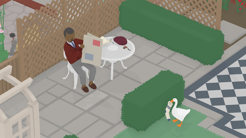 A man reading this newspaper gives a goose carrying a sock some real side eye in Untitled Goose Game