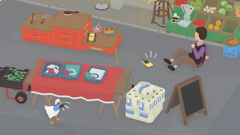 A goose uses a walkie talkie to distract a shopkeeper in Untitled Goose Game