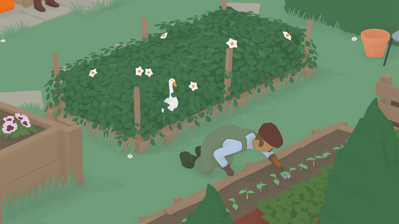 A goose hides in a bush, waiting to surprise a gardener in Untitled Goose Game