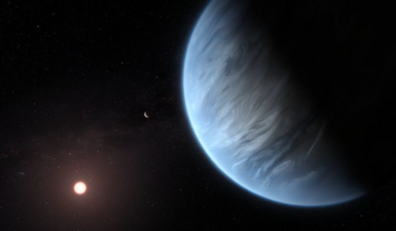 Graphic of a cloudy blue planet and its host star.