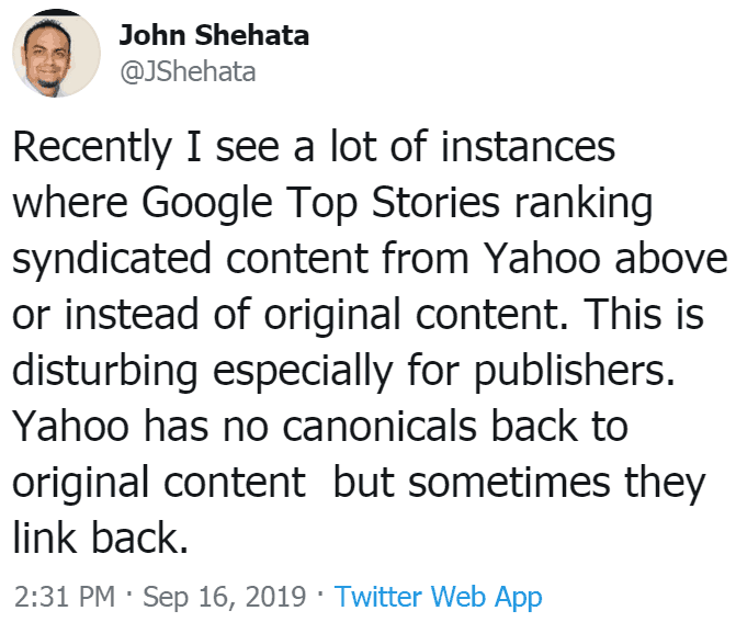 screenshot of tweet by John Shehata
