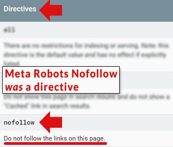 Screenshot of Google's developer page that calls the meta robots nofollow a directive
