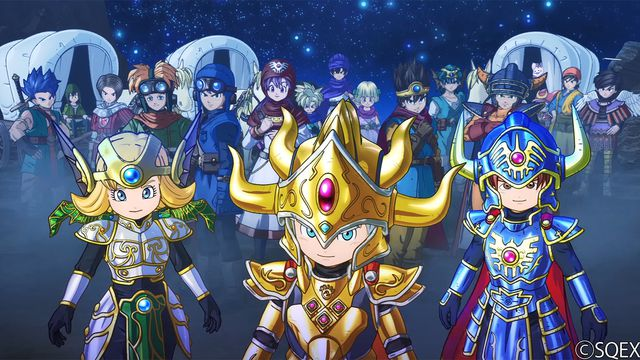 New Dragon Quest heroes stand in front of many of the other heroes from previous games