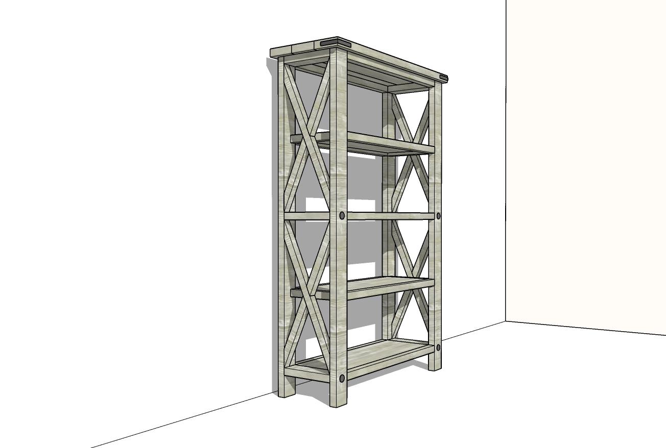 rustic bookshelf plans
