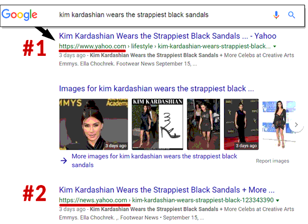 Screenshot of Google search results showing a bias toward Yahoo News