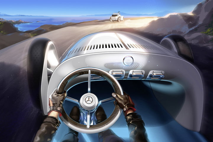 mercedes benz vision simplex is a retro futuristic sculpture