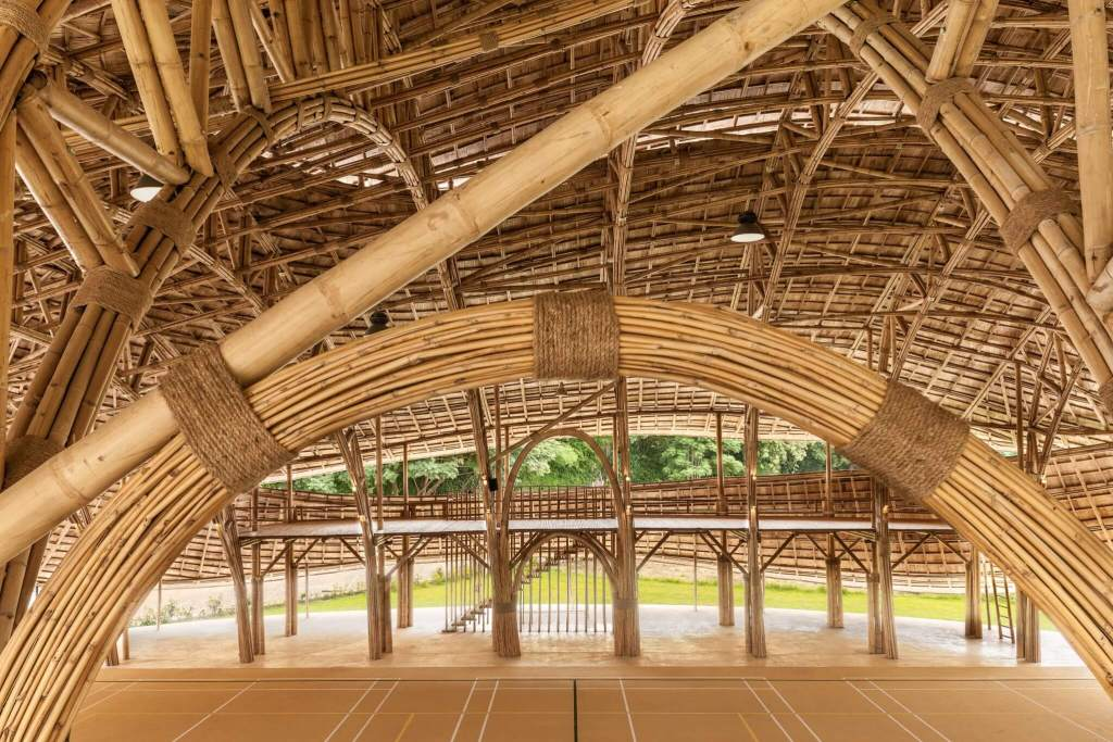 Bamboo sports hall interior