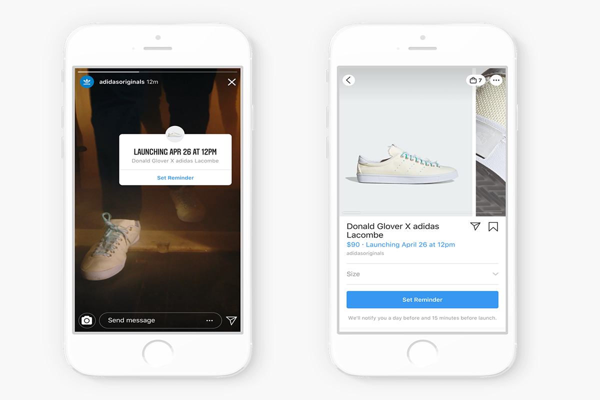 Adidas can now warn of product drops on Insta and shoppers can set an alert