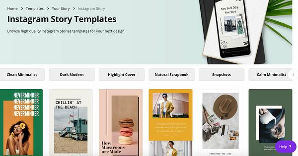 Canva templates for Instagram Stories.