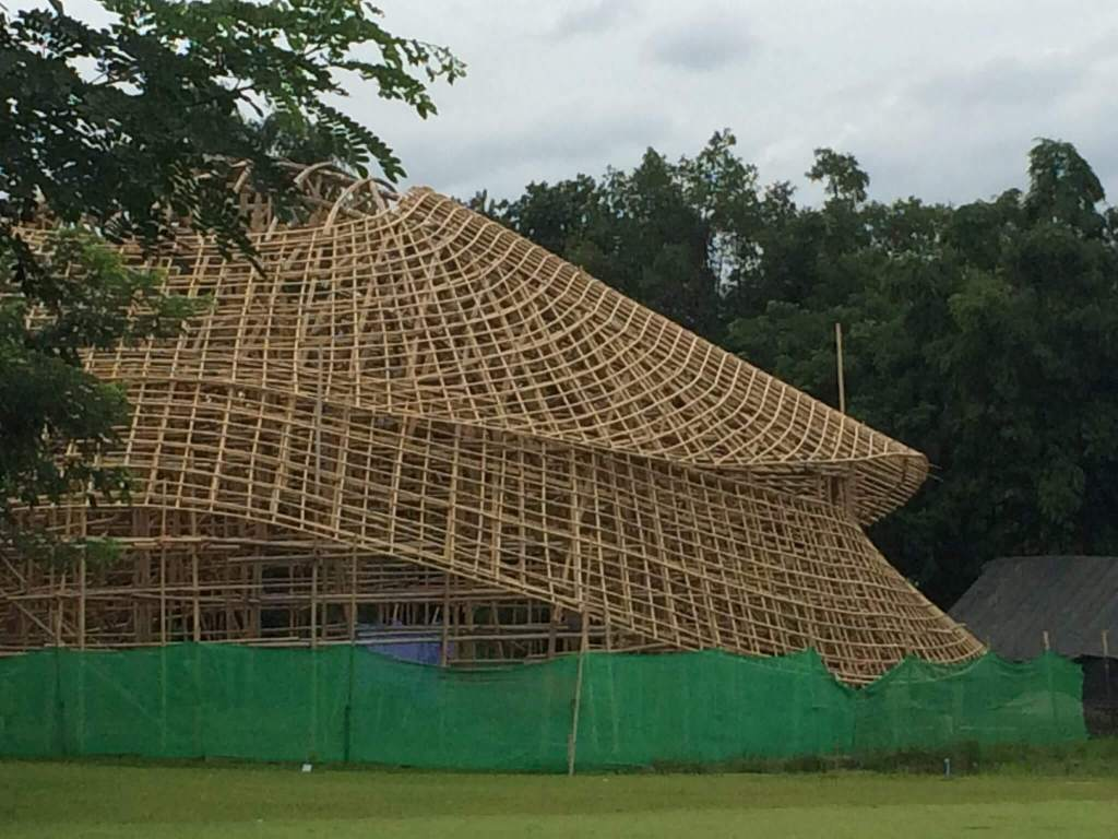 Bamboo sports hall construction