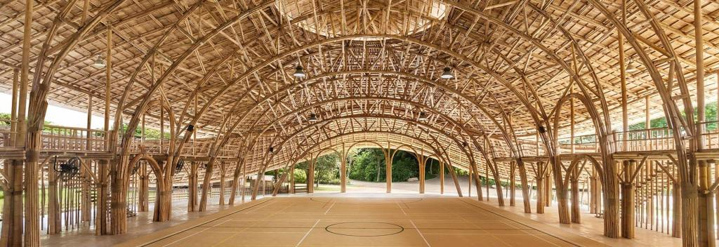 earthquake-proof bamboo sports hall has carbon-zero footprint