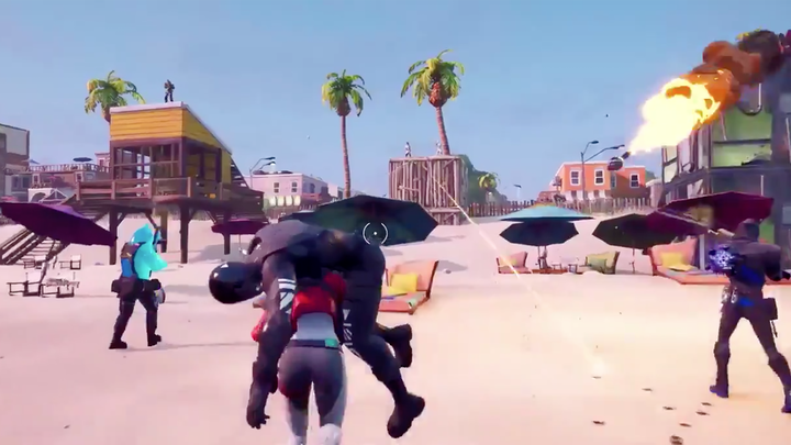 Fortnite Chapter 2 leaked trailer showing beach battle with player carrying teammate