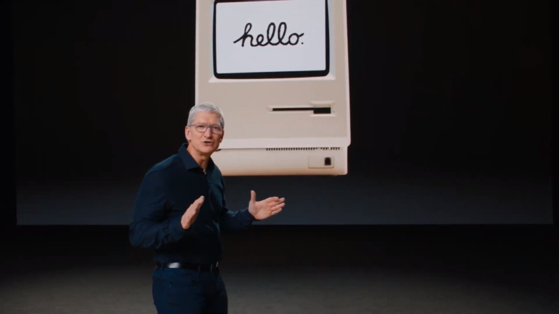 Tim Cook begins his announcement of Apple Silicon.