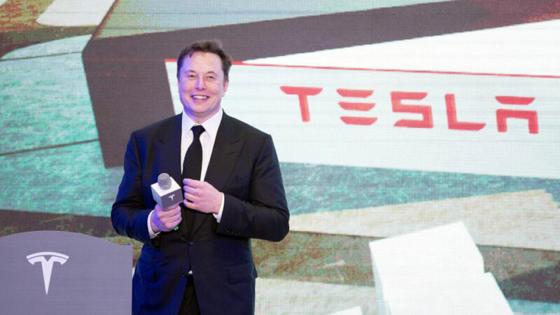 Tesla CEO Elon Musk attends an opening ceremony for Tesla China-made Model Y program in Shanghai, east China, Jan. 7, 2020